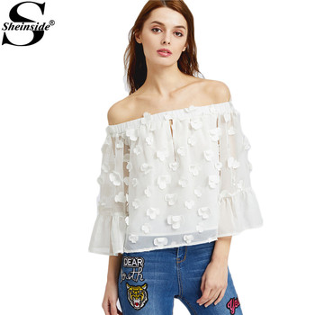Sheinside Floral Applique Women Blouses White Elegant Off Shoulder Cute Summer Tops 2017 Fashion Sexy Slash Neck Casual Blouse