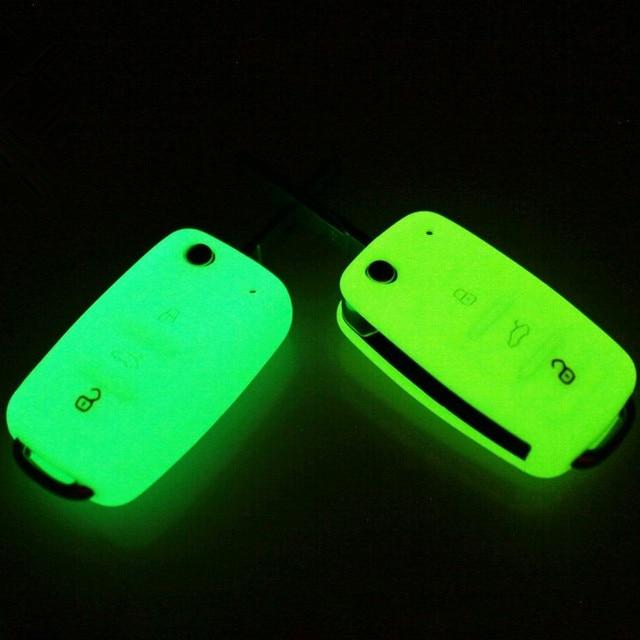 זוהר 3 כפתורים סיליקון רכב מפתח כיסוי מקרה עבור פולקסווגן גולף בורה ג טה פולו פאסאט עבור סקודה מעולה אוקטביה פאביה סיאט איביזה ליאון