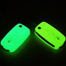 Luminoso 3 botões de silicone caso capa chave do carro para vw golf bora jetta polo passat para skoda superb octavia fabia assento ibiza leon