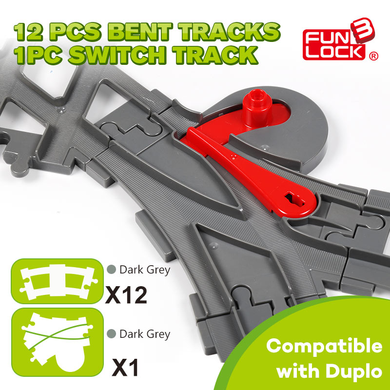Funlock Duplo 13pcs Toys Blocks Train Track in Curve and Crossover Railway Switch Assembling Parts Educational Toys track building blocks compatible with duplo train track crossover parts railway switch accessories bricks set toys for kid gifts