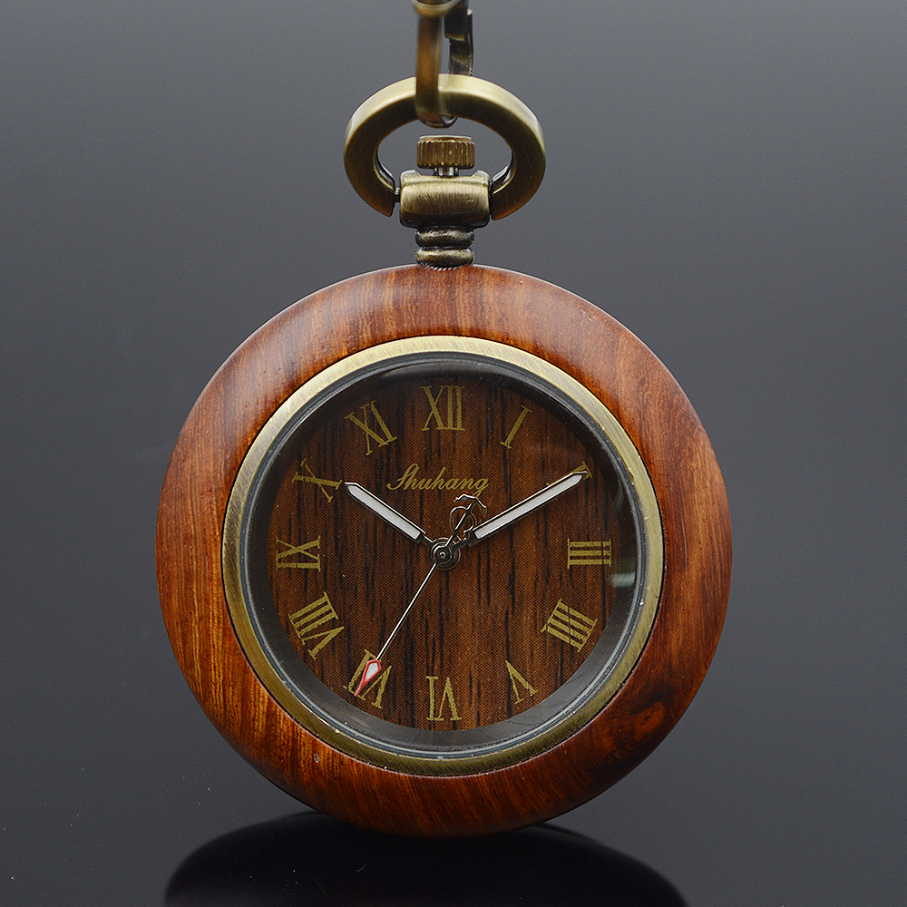 Shuhang Brand Bronze Tone Roman Number Wooden Case Japanese Quartz Movement Mens Womens Pocket Watch Luxury Wooden Watches old antique bronze doctor who theme quartz pendant pocket watch with chain necklace free shipping