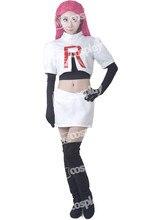 Аниме Новинка; Лидер продаж Pokemon Команда Ракетно Джесси Косплэй костюм Хэллоуин платье Костюмы