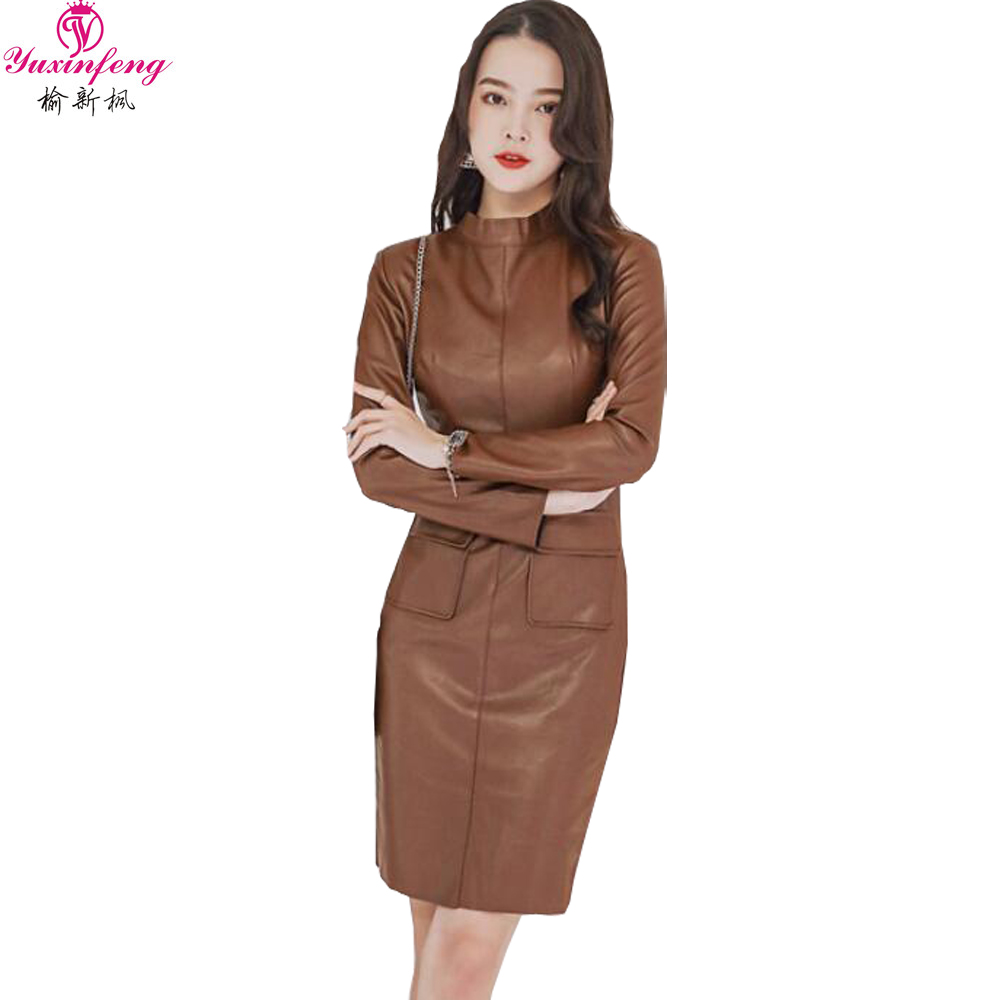 Yuxinfeng Women Long Sleeve Pu Leather Dress Spring Slim Bodycon Faux Leather Dress Female O Neck