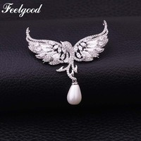 Feelgood Luxury Jewelry Phoenix Bird Brooches Cubic Zirconia Angel Wing And Imitation Pearl Brooch For Women
