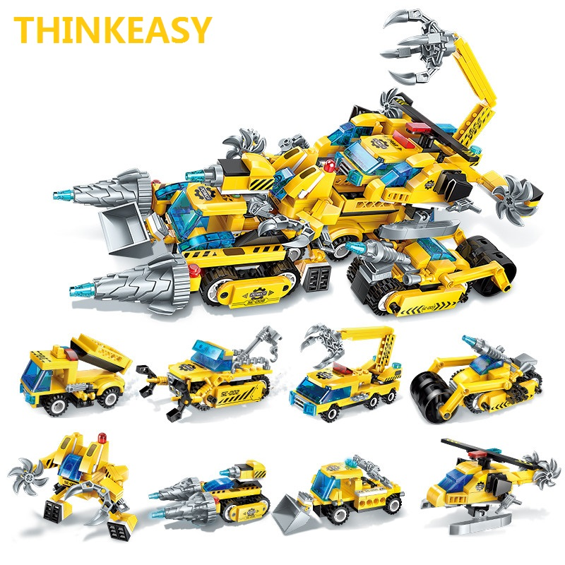 ThinkEasy 8 PCS/Set Puzzle Transformation Star Wars Space Cars Prime Bruticus Action Figures Block Toys For Kids Birthday Gifts 8pcs set the octonauts cartoon action figures kids toys captain barnacles medic peso model children birthday gifts with box