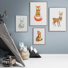 Christmas Bear Fox Deer Rabbit Wall Art Canvas Painting Watercolor Nordic Posters And Prints Cartoon Pictures For Kids Room