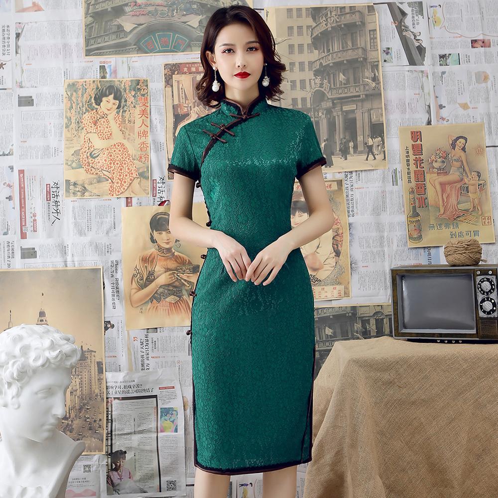 Novelty Short Lace Chinese Traditional Women Qipao Big Size 3XL Vestidso Elegant Evening Party Dress Sexy Lady Cheongsam S-95