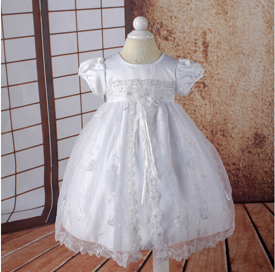 2016 New Noble Christening Dress White/Ivory Baptism Gown Tulle Beads Lantern Sleeves 0-12month