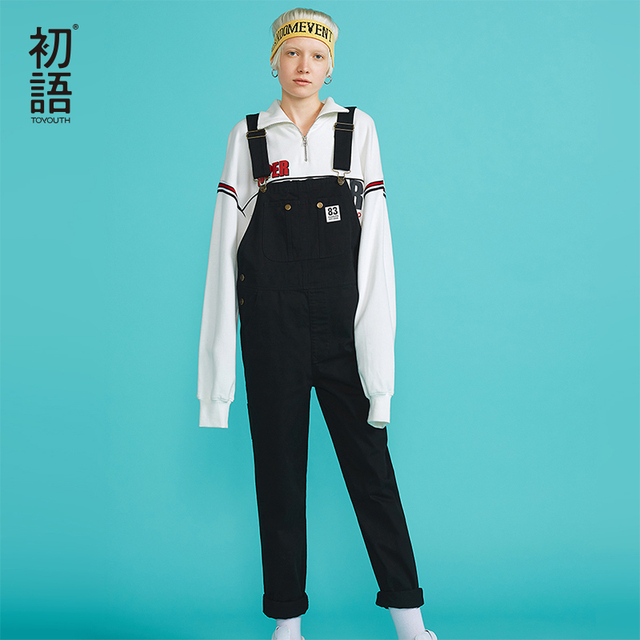 Toyouth New Autumn Hight Waist Jumpsuits for Women Loose Korean Jumpsuit Casual Cotton Womens Overalls Long Playsuit Bodysuits