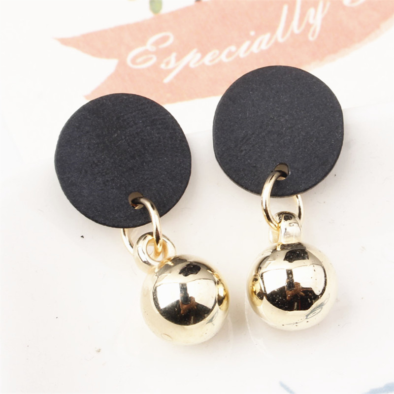 Simple Black Acrylic Stud Earrings alloy beads Silver Gold Color Round Metal Statement Earrings for Women New Arrival Jewelry