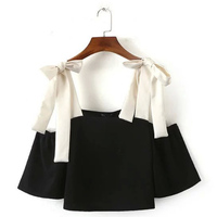 Trendy Contrast Color Off The Shoulder Bow Loose Crop Short Shirt Sexy Cute Women Pullover O