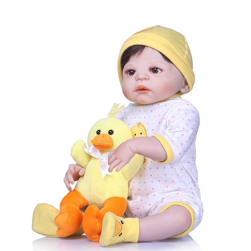 56CM Baby Reborn Doll Full Body Silicone 3D Lifelike Jointed Newborn Doll Playmate Gift NSV775 56cm baby reborn doll full body silicone 3d lifelike jointed newborn doll playmate gift bm88