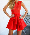 2015 NOVO Estilo Moda Verão Mulheres vestido Casual O Pescoço Babados Vestido vestido do vintage vestidos de festa do clube Vestidos vestidos