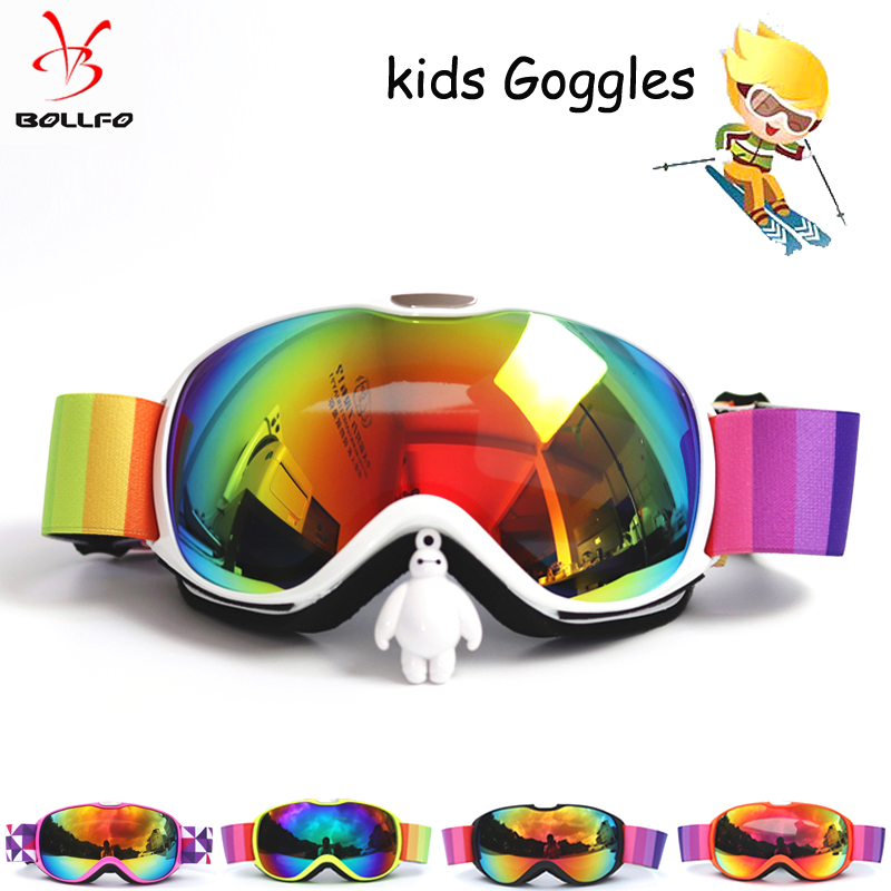 BOLLFO Kids Ski Glasses Small Size For Kids UV400 Anti-fog  Goggles Ski Spherical Lens Girls Boys Snowboard Goggles Glasses