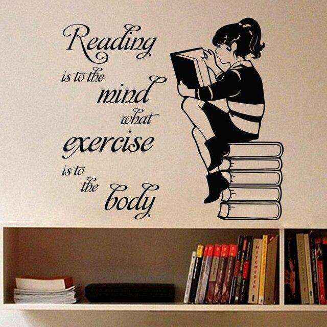 Girl Reading Book Vinyl Wall Sticker For Kids Room Mural