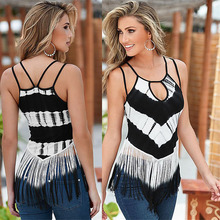 New Arrived Sexy Tassel Camis Women Casual Crochet Sleeveless Top Patchwork Color Hollow Vest Summer Fashion