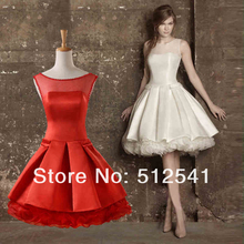 Short Sheer Wedding Dresses 2014 A Line Scoop Neck Pearls Ruffle Covered botton back Bridal yk8R161