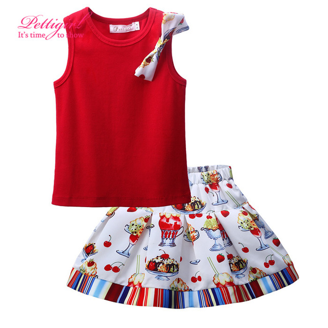 Top Grade Kids Clothing Set Girls Puff Sleeve Children Flower Tees and Print Girl  Skirts Bow Child Suits Retail CS81010-84Z