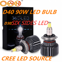 DLAND OWN D40 360 DEGREE 초점 90W 6000LM 자동차 LED 전구 램프 크리 칩 H1 H3 H7 H11 HB3 HB4 880 881