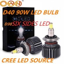 DLAND OWN D40, focalisation à 360 degrés, 90W 6000LM, ampoule AUTO LED avec puce CREE H1 H3 H7 H11 HB3 HB4 880 881