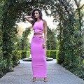 Новый 2016 оболочка выдалбливают женщины две пьесы юбка сексуальный комплект рукавов холтер растениеводство топ карандаш юбки твердые розовый элегантный набор MQ231