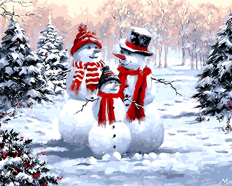 Winter Landscape Snowman Oil Painting Picture By Numbers