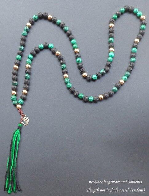 108 mala colar de borla longo colar de pedra natural com ouro banhado om yoga boho jóias para as mulheres jóias 8mm talão
