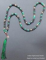 108 mala necklace đá Tự Nhiên với OM tua vòng cổ dài yoga boho Trang Sức Cho Nữ Jewelry 8 mét bead