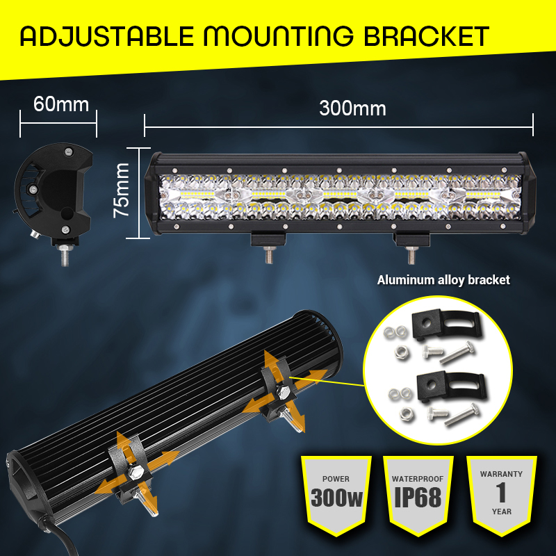"Image 4 - Led Bar 300W Work Light 15"" Driving Light 12V 24V Car Light Bar Combo Beams Headlights for tractor motorcycle Boat SUV ATV Lamps-in Light Bar/Work Light from Automobiles & Motorcycles"