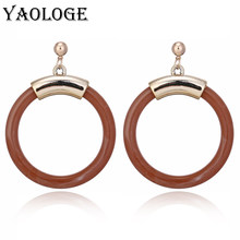 YAOLOGE New Classic Round Acrylic Earrings Fashion Creative Circle Personality Jewelry Bohemian Style For Women Accessories(China)