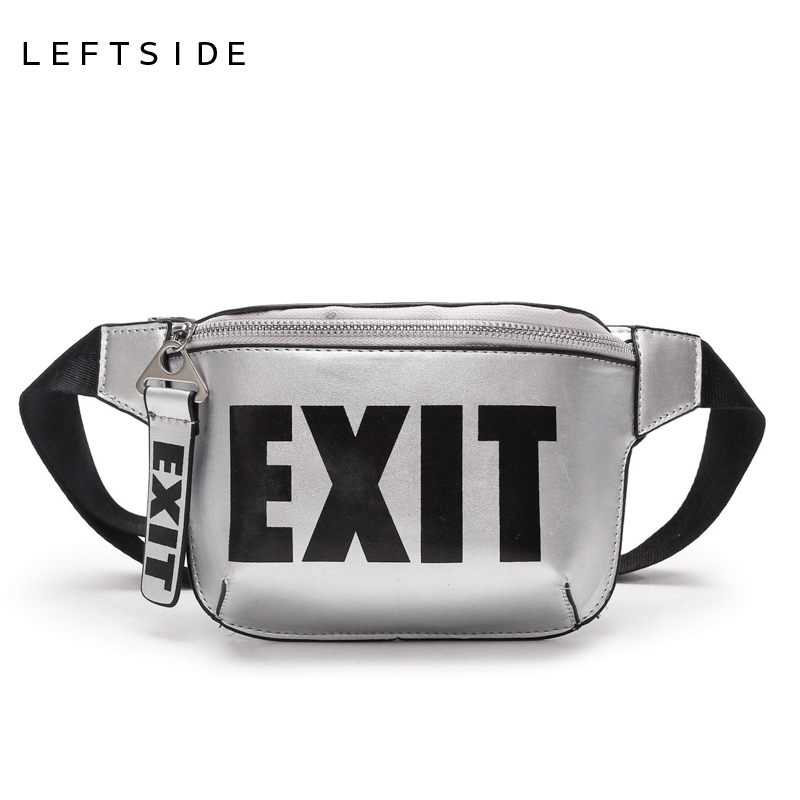 LEFTSIDE 2018 Fashion PU Leather Waist Bag Women Fanny Packs Letter EXIT Waist Packs Belt Bag Female Chest Handbag Drop ship