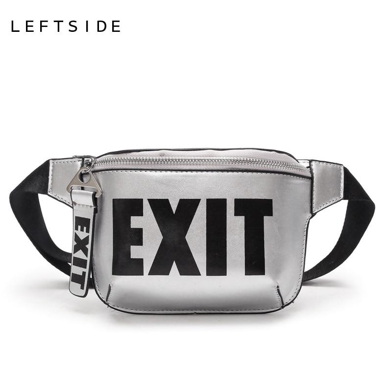 LEFTSIDE 2018 Fashion PU Leather Waist Bag Women Fanny Packs Letter EXIT Waist Packs Belt Bag Female Chest Handbag Drop ship