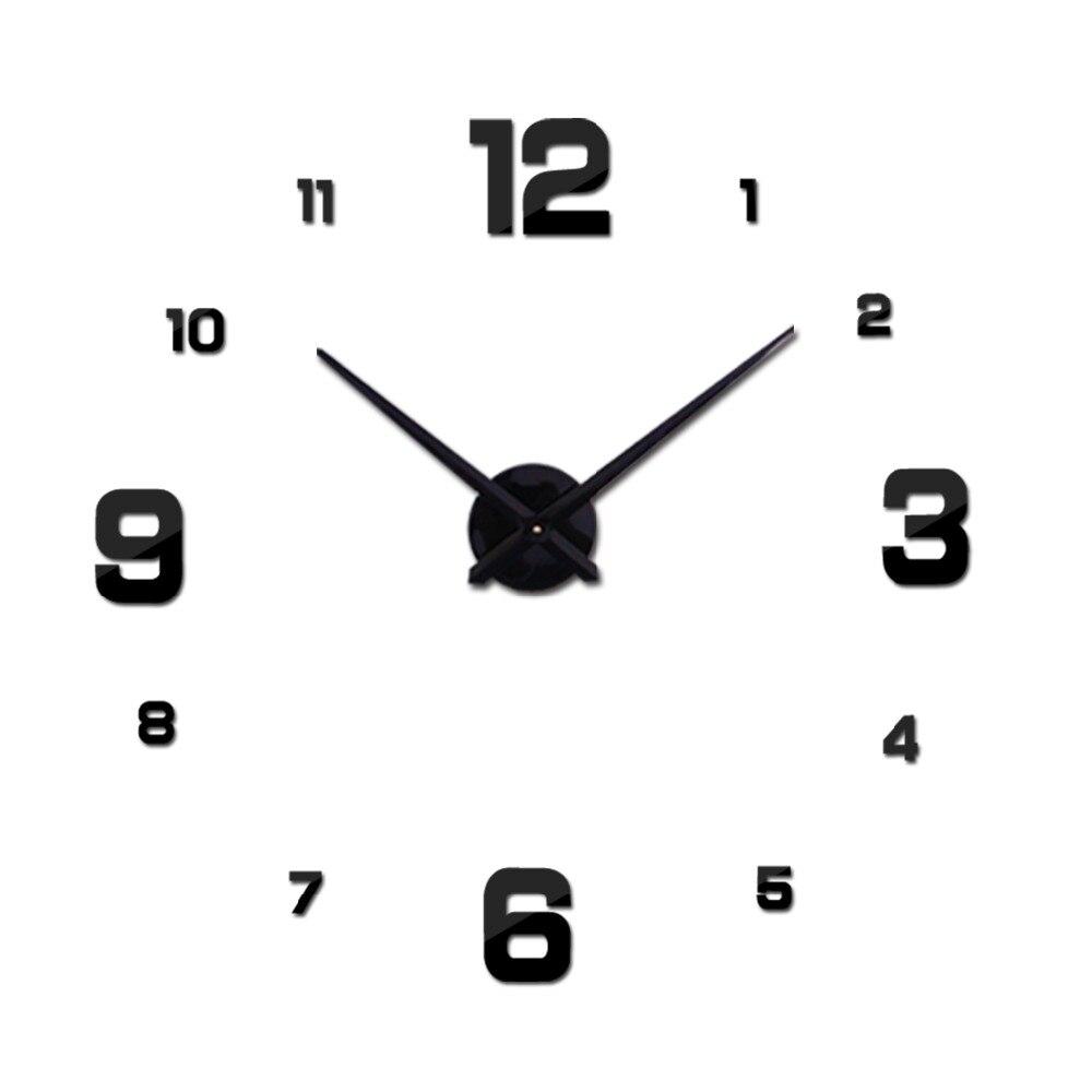 Vente chaude Nouvelle Horloge Murale Horloges Montre Autocollants Diy 3d Acrylique Miroir Décoration Quartz Balcon/cour Aiguille europe