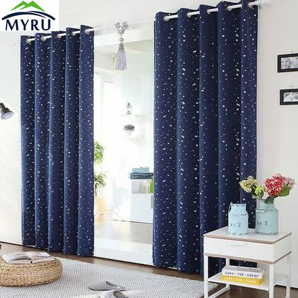 MYRU Korean style stars sky silver shade cloth curtains boys and girls children bedroom  ...