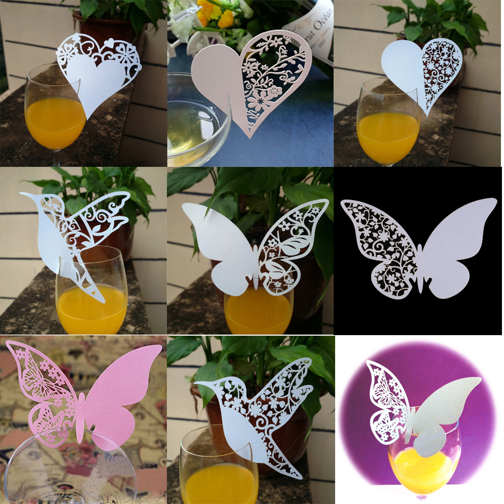 Nice 10pc Love Heart Place Escort Table Mark Wine Glass Name Place Card Festival Wedding Party Bar Decoration DIY Cup Decor