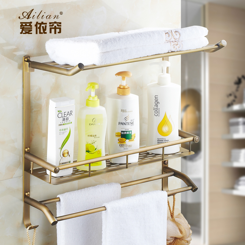 Bathroom Shelves 3 Layer Rack Copper Antique Towel Hook Washing Shower Shampoo Storage Bath Fitting Basket Shelf Sj17 whole brass blackend antique ceramic bath towel rack bathroom towel shelf bathroom towel holder antique black double towel shelf