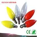 2 UNIDS luz de la vela E12/E14 LED Bombillas de iluminación del paisaje amarillo/blanco/rojo PC plástico de 360 grados de iluminación LED lámpara