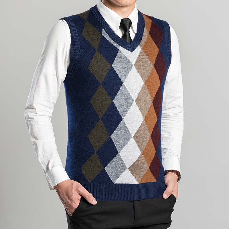 Knitting Pattern Mens Sleeveless Vest : Aliexpress.com : Buy wool sweater vest 2016 new argyle patterns autumn winter...