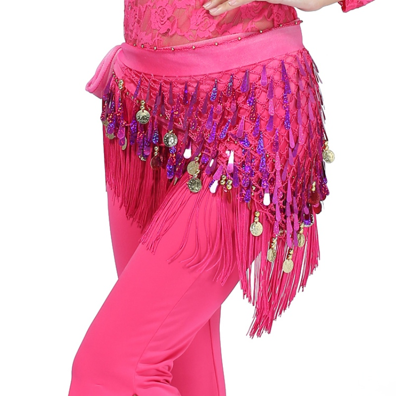 Belly Sexy Vestidos Solid Large Size Rhinestone Pink Dance Hip Skirt Scarf Wrap Waist Belt Three Layers Gold Coins Sequins