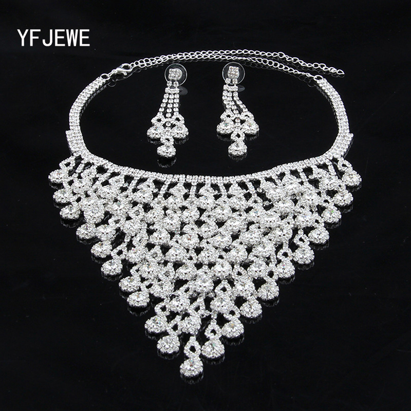 YFJEWE Fashion Silver Plated Crystal Pendants Necklace Earrings set Wedding Accessories Bridal Jewelry Sets For Women #N149 yfjewe silver necklace earrings and bracelet sets crystal ring jewelry for women jewelry sets bride wedding collar n087