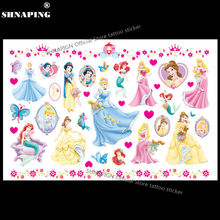 SHNAPIGN Mermaid Snow White Child Temporary Tattoo Body Art Flash Tattoo Stickers 17*10cm Waterproof Henna Styling Wall Sticker