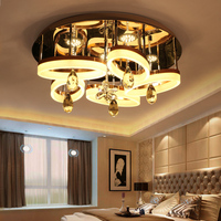 IWHD Acrylic LED Ceiling Light Fixtures Stainless Steel Ceiling Lamps Modern Crystal Lamp Bedroom Living Room
