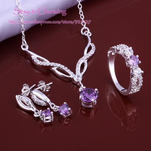 S643 Sets Silver Plated Zircon CZ Zircon 3pcs Necklace,Ear Studs,Ring Size 8 Fashion Jewelry,Welcom Mixed Wholesale