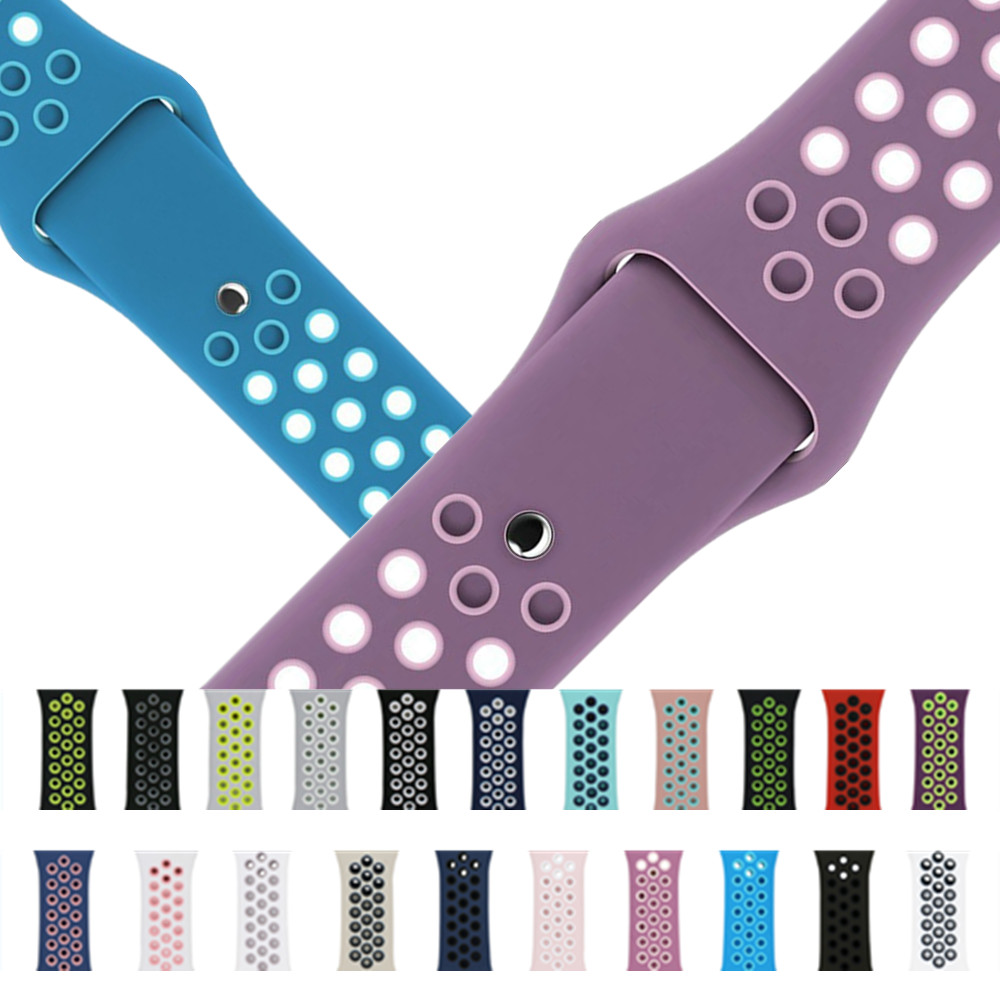 Colorful Silicone Strap Band for Apple Watch iWatch 38mm 42mm Series 1 2 3 Sport Rubber Bracelet Wrist Watch Straps iwo 1:1 5 6 luxury ladies watch strap for apple watch series 1 2 3 wrist band hand made by crystal bracelet for apple watch series iwatch