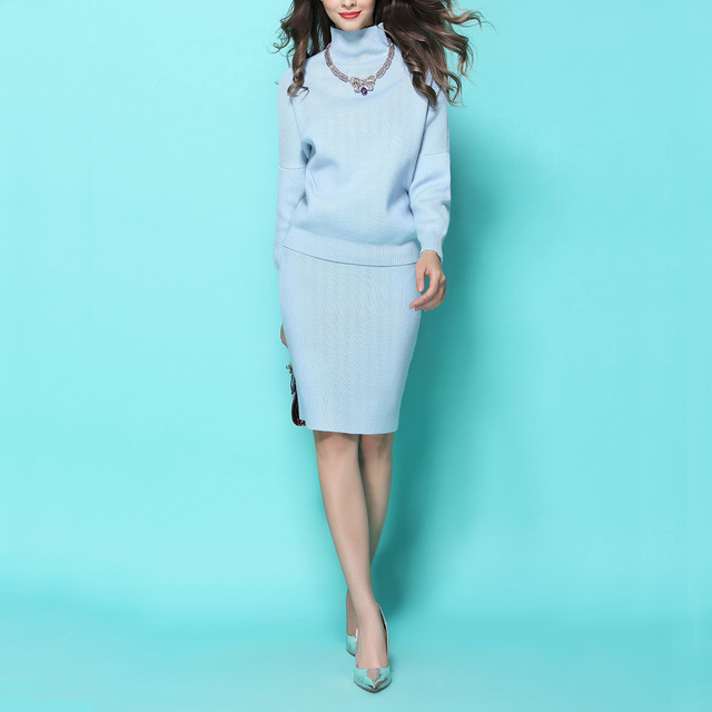 f916fc80d4856 2018 Autumn Winter Fashion Thick Knitting Wool High Collar Wool Sweater +  Slim Hip OL Skirts Woman Suits Skirt Top 2 piece set