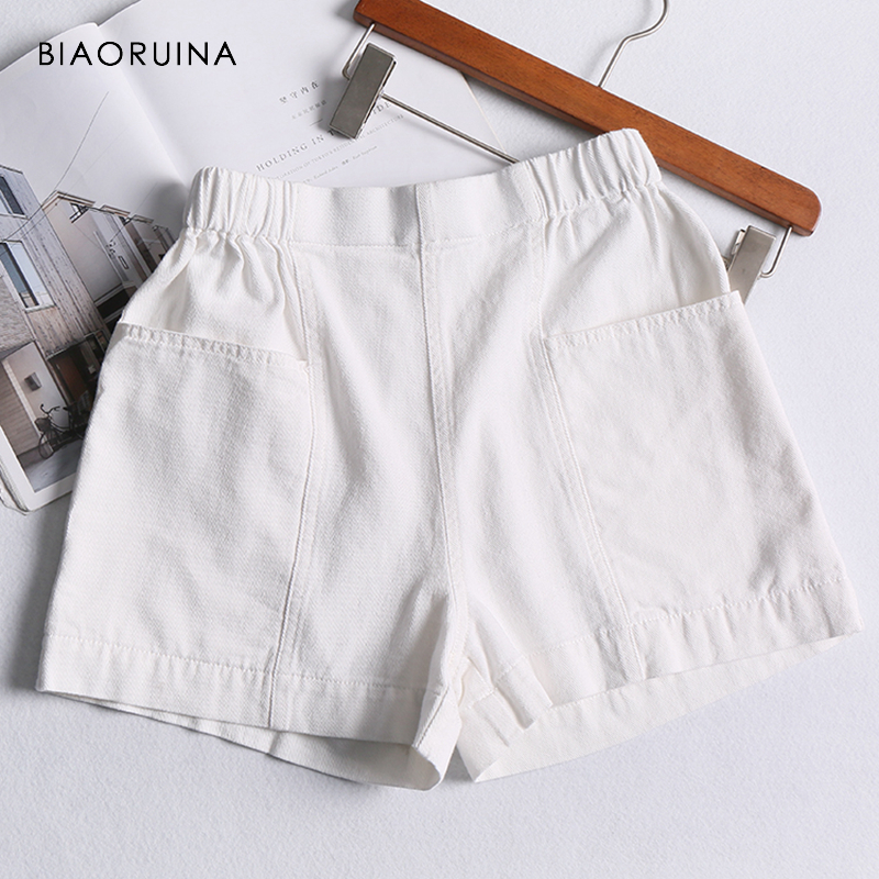 BIAORUINA Women Casual Elastic High Waist Cotton   Shorts   Female Fashion Loose Wide Leg   Shorts   Solid All-match Comfortable   Shorts
