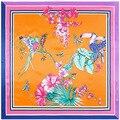 90 см * 90 см новый шарф дятел бабочка моделирования цветок шелковый шарф площади