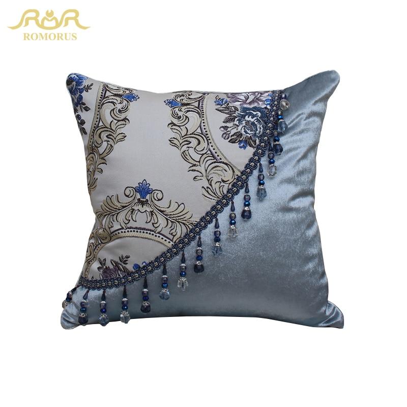 ROMORUS European Style Luxury Cushion Covers Jacquard Decorative Cushion Cover for Sofa Throw Pillow Car Chair Decor Pillow Case