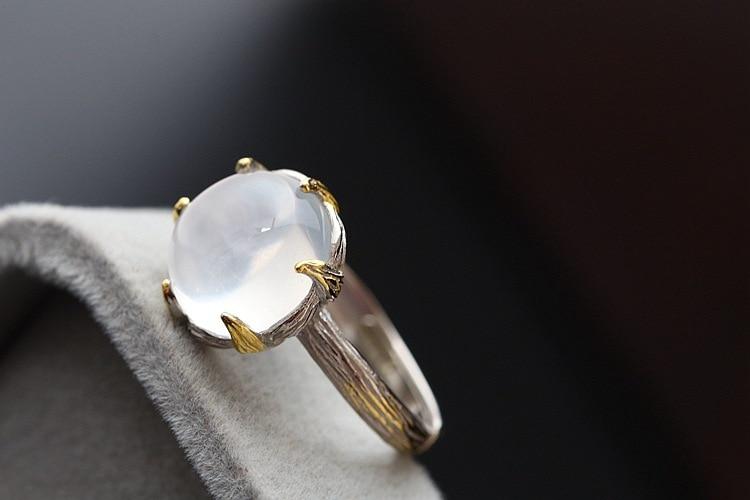 Mosaic Natural Ice Moonlight Silver Ring 925 Sterling Silver Female Ring, Open Silver Ring night sky and cats 925 sterling silver female silver ring