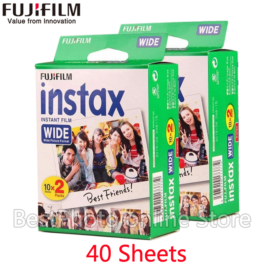 40 Feuilles Véritable Fujifilm Fuji Instax instantanée Large Film blanc Gde Pour Fuji Appareil Photo Instantané 300/200/210/100/500AF papier Photo